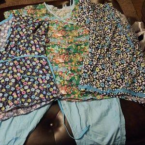 Koi Scrubs set 3 tops one turquoise  pants